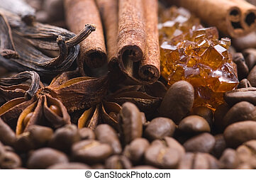 茴香, 香草, ingredients., coffe., beens, coffe, 芳香, 肉桂, 糖