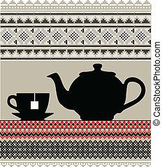 茶壺, 以及, 杯子, 插圖