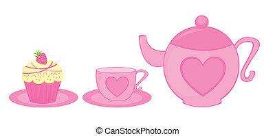 茶壺, 杯子, 以及, 蛋糕