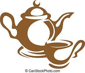 茶壺, 茶杯, 圖象, 在, 布朗