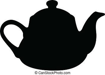 茶壺, 黑色半面畫像, 矢量