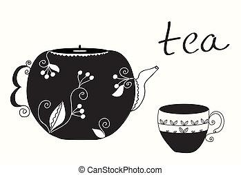 茶杯杯狀結構杯狀物, 以及, 茶壺, 菜單, 背景