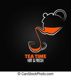 茶杯杯狀結構杯狀物, 設計, 菜單, backgraund