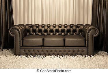 茶色の革ソファー, チェスター, 内部, 贅沢