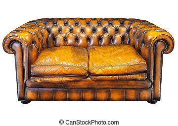 茶色の革ソファー, 隔離された, 型, chesterfield, 白