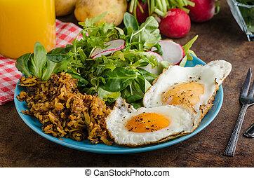 茶色, 卵, ハッシュ料理, ポテト