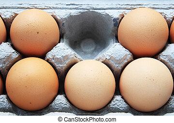 茶色 卵, 欠けている