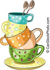 茶, 杯, 堆积