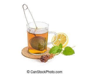 茶, 热, 柠檬, melissa, 杯