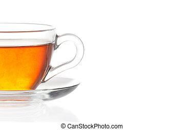 茶, 白的背景, 杯