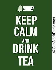 茶, 飲料, 平靜, 保持