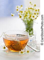 草の 茶, ガラス, カップ