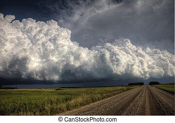 草原, 雲, 嵐