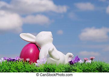 草地, 復活節, 天空, 花, 蛋