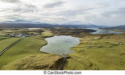 草地, 綠色, 空中的觀點, 湖
