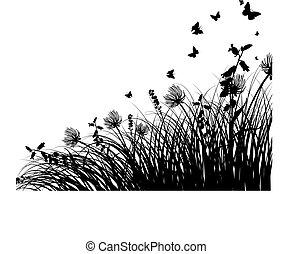 草地, 黑色半面畫像