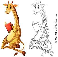 草拟, 长颈鹿, 书, 动物, doodles, 阅读