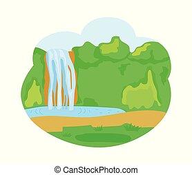 草木の栽培場, 湖, 滝, 木, 自然