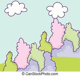 草木の栽培場, 風景, 自然, 薮, 群葉, 漫画, 雲
