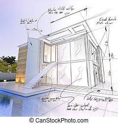 草案, 現代, 家, プロジェクト, プール, 建築