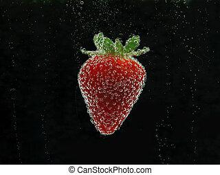 草莓, 在, 水