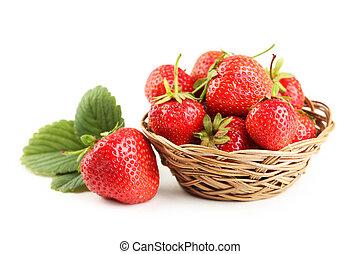 草莓, 在, 籃子, 被隔离, 上, a, 白色