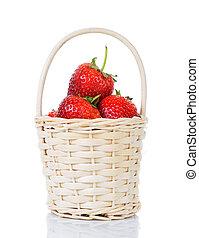 草莓, 在, a, 籃子, 被隔离, 在懷特上