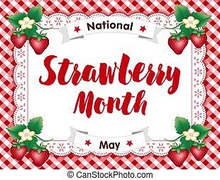 草莓, 月, 帶子, 小墊布, 地方蓆子, 紅色, 方格花布
