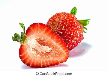 草莓, 白色, 被隔离, 背景, cutout