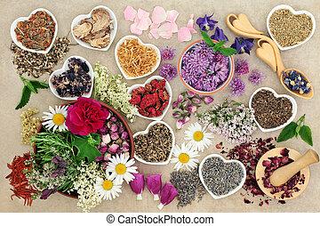 草藥, 以及, 花
