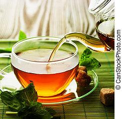 草, たたきつける, お茶