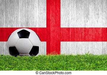 草, イギリス\, 旗, ボール, 背景, サッカー