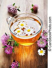 草, クローバー, 暑い, chamomile 茶
