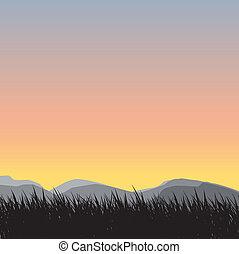 草, シルエット, 背景