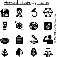 草, セット, 療法, アイコン