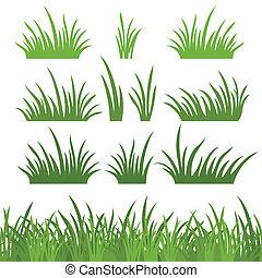 草, セット, 緑, seamless