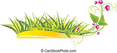草, 以及, sprig, 由于, 桃紅色花