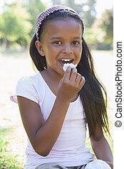 草, 女の子, 食べること, モデル