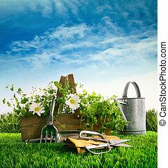 草, 庭, ハーブ, 新鮮な花, 道具