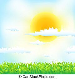 草, 春天, 云, 背景, 太阳