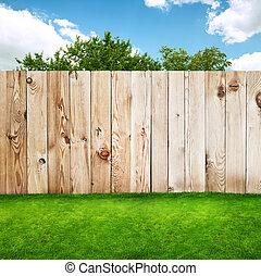 草, 木製のフェンス, 緑