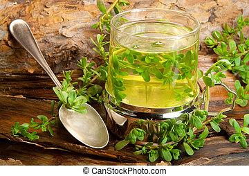 草, 治癒, お茶, から, brahmi, 上に, a, 木製である, 背景