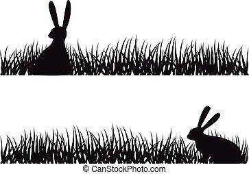 草, 矢量, 兔子
