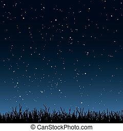 草, 空, seamless, 夜