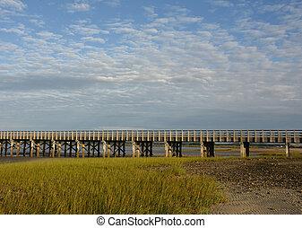 草, 粉, ポイント, 橋, 浜, 沼地