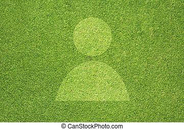 草, 緑, 人々, アイコン