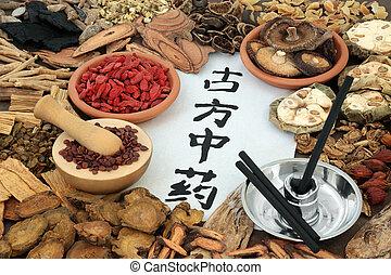 草 薬, moxibustion, 中国語