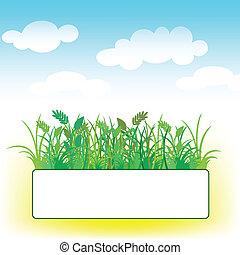草, 雲, カード