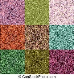 草, 鮮艷, collection., 九, seamless, 圖樣, 由于, 草