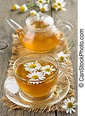 草, chamomile 茶, 中に, ガラス, カップ